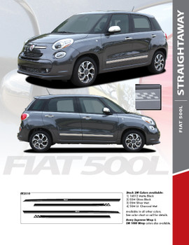 STRAIGHTAWAY : 2014-2016 Fiat 500L Abarth Upper Side Door Vinyl Graphics Stripes Decals Kit