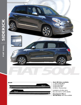 SIDEKICK : 2014-2016 Fiat 500L Abarth Upper Side Door Accent Vinyl Graphics Stripes Decals Kit
