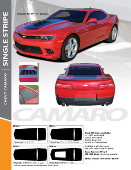 SINGLE STRIPE 14 : 2014-2015 Chevy Camaro Factory OEM Style Wide Hood Striping Trunk Rally Stripe Decal Kit