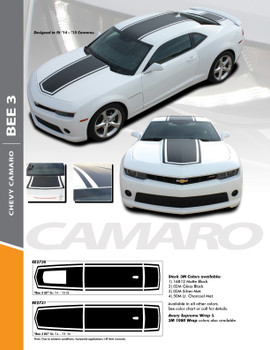 BEE 3 : 2014-2015 Chevy Camaro Wide Center Outline Hood Roof Trunk Vinyl Graphics Racing Stripes Decals Kit