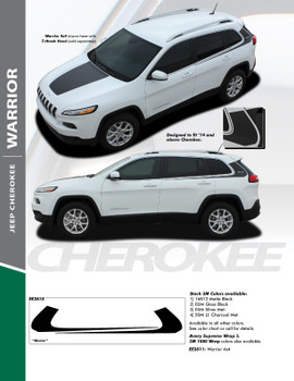 WARRIOR : 2013-2019 Jeep Cherokee Upper Body Line Door Accent Vinyl Graphics Decal Stripe Kit