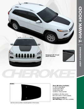 T-HAWK : 2013-2019 Jeep Cherokee Trailhawk Center Hood Blackout Vinyl Graphics Decal Stripe Kit