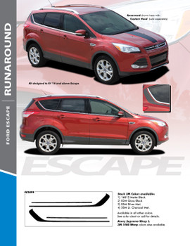 RUNAROUND : 2013-2018 Ford Escape Upper Body Line Vinyl Graphics Decal Stripe Kit