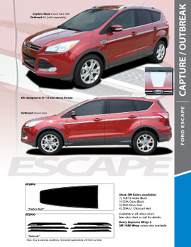 CAPTURE : 2013-2018 Ford Escape Center Hood Vinyl Graphics Decal Stripe Kit