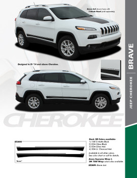 BRAVE : 2013-2020 Jeep Cherokee Lower Rocker Panel Body Door Vinyl Graphics Decal Stripe Kit
