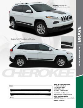 BRAVE : 2013-2020 Jeep Cherokee Lower Rocker Panel Body Door Vinyl Graphics Decal Stripe Kit