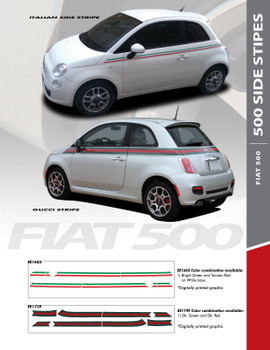 SE 5 ITALIAN APPLIQUE STRIPE : 2011-2016 Fiat 500 Gucci Style Abarth Door to Rear Wrap Around Vinyl Graphics Stripes Decals Kit