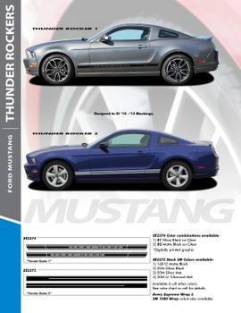 THUNDER ROCKER : 2013-2014 Ford Mustang Lower Rocker Panel Stripes Vinyl Graphic Decals Kit