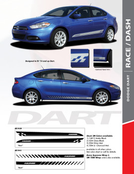 RACE : 2013-2016 Dodge Dart Lower Door Rocker Vinyl Graphics Decals Stripes Kit