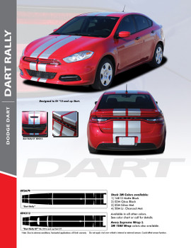 DART RALLY : 2013-2016 Dodge Dart Bumper to Bumper Hood Rally Racing Stripes Kit