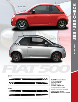 SE 5 CHECK : 2011-2016 Fiat 500 Upper Side Door Abarth Vinyl Graphics Stripes Decals Kit