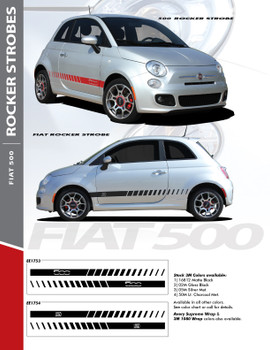 SE 5 ROCKER STROBES : 2011-2016 Fiat 500 Abarth Lower Door Rocker Panel Vinyl Graphics Stripes Decals Kit