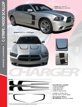 SCALLOP HOOD : 2011-2014 Dodge Charger Hood Accent Vinyl Graphics Decal Stripe Kit