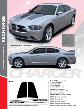 RECHARGE COMBO : 2011-2014 Dodge Charger Split Hood Decals and Rear Quarter Panel Stripe Vinyl Graphics Kit