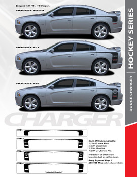 RECHARGE HOCKEY : 2011-2014 Dodge Charger Rear Quarter Panel Extended Vinyl Graphic Decal Striping Kit