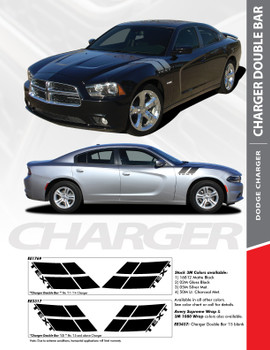 RECHARGE DOUBLE BAR : 2011-2014 Dodge Charger Hood to Fender Hash Marks Vinyl Graphic Decals and Stripe Kit