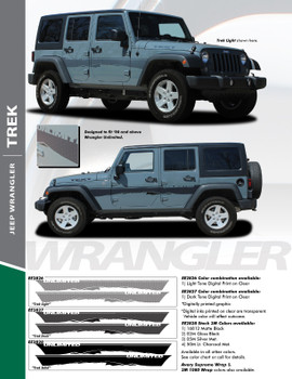 TREK : Jeep Wrangler Side Door Fender to Fender Vinyl Graphics Decal Stripe Kit for 2007-2017 Models