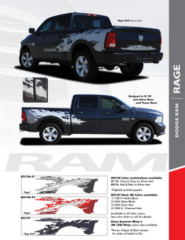 "RAM RAGE SOLID : 2009-2018 Dodge Ram ""Power Wagon Style"" Vinyl Graphics Truck Bed Decal Striping Kit"