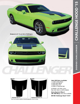 HOOD 15 : 2015-2018 Dodge Challenger Factory OE Factory Style R/T Hood Vinyl Graphics Stripe Decals Kit