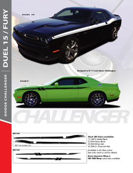 DUEL 15 : 2011-2018 Dodge Challenger Vinyl Graphics Upper Door Strobe with R/T Decal Stripe Kit