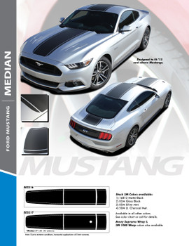 MEDIAN : 2015-2017 Ford Mustang Wide Center Hood Roof Trunk Racing Stripe Rally Striping Vinyl Graphics Kit