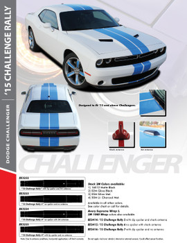 RALLY 15 : 2015-2020 Dodge Challenger Factory OEM Style Vinyl Graphic Racing Rally Decal Stripe Kit