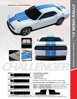 RALLY WING 15 : 2015-2020 Dodge Challenger Wide Rally Hood Vinyl Graphic Full Racing Stripes Kit