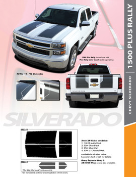 "RALLY 1500 PLUS : 2014 2015 ""Rally Edition Style"" Chevy Silverado Vinyl Graphic Decal Racing Stripe Kit"