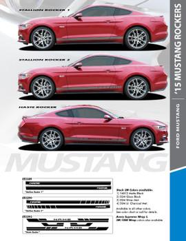 STALLION ROCKER TWO : 2015-2017 Ford Mustang Strobe Lower Rocker Panel Stripes Vinyl Graphic Decals Kit