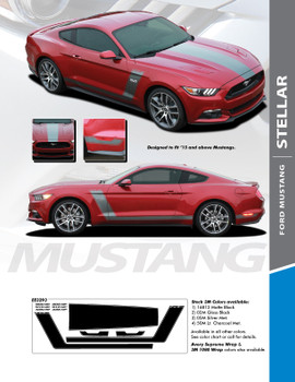 STELLAR : 2015-2017 Ford Mustang Boss Style Hood Side Door Vinyl Graphic Decals Stripes Kit