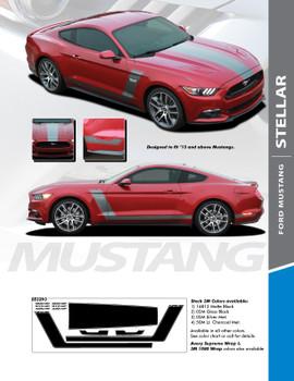 STELLAR : 2015-2017 Ford Mustang Boss Style Hood Side Door Vinyl Graphic Decals Stripes Kit