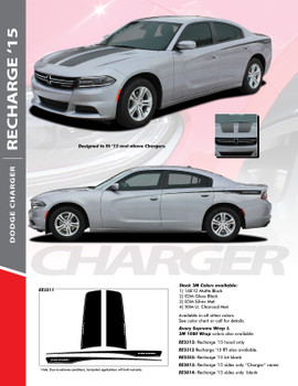 RECHARGE 15 COMBO : 2015-2018 Dodge Charger Split Hood and Rear Quarter Panel Sides Vinyl Graphic Decals and Stripe Kit