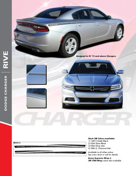 RIVE : 2015-2018 Dodge Charger Hood Spikes and Rear Quarter Panel Sides Vinyl Graphic Decals Stripe Kit