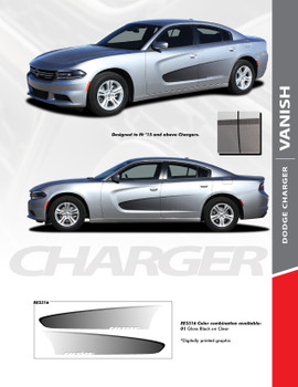 VANISH : Screen Print Fade Style Side Vinyl Graphic, Decals, and Stripe Kit for Dodge Charger