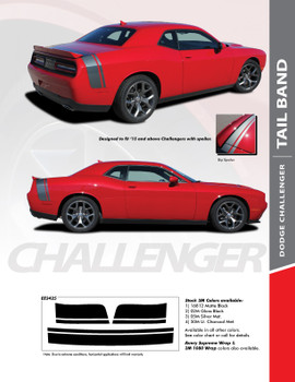 TAILBAND : 2011-2020 Dodge Challenger Factory OEM Scat Pack Style Rear Quarter Panel Trunk Vinyl Rally Stripes
