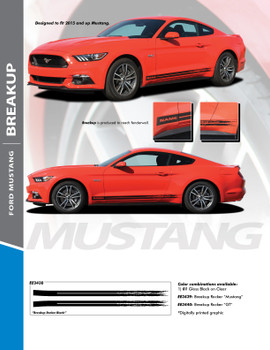 BREAKUP ROCKER : 2015-2017 Ford Mustang Rocker Panel Stripes Vinyl Graphic Decals Kit