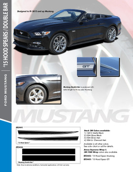 MUSTANG HOOD SPEARS : 2015-2017 Ford Mustang Hood Spear Spike Vinyl Graphic Decals Stripes Kit