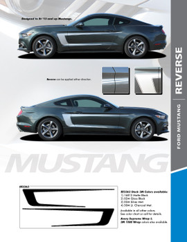 REVERSE : 2015-2017 Ford Mustang C Stripe Reversible Side Door Vinyl Graphic Decals Stripes Kit