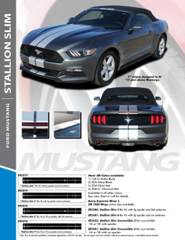 """STALLION SLIM : 2015-2017 Ford Mustang Lemans Style 7"""" Wide Racing Rally Stripes Vinyl Graphics Kit"""