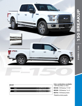 F-150 BREAKUP ROCKER : 2015-2018 Ford F-150 Lower Door Rocker Panel Stripes Vinyl Graphic Decals Kit