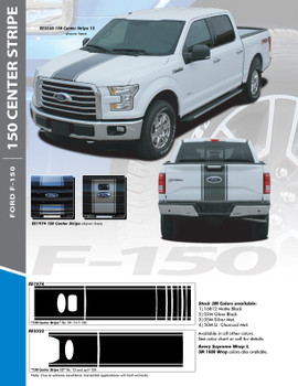 F-150 CENTER STRIPE : 2015-2020 Ford F-150 Center Hood Tailgate Vinyl Racing Stripes Graphics Decals Kit