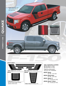QUAKE 15 PACKAGE : 2015-2020 Ford F-150 Hockey Stripe Tremor FX Appearance Style Side Doors and Hood Vinyl Graphics Decals Striping Kit