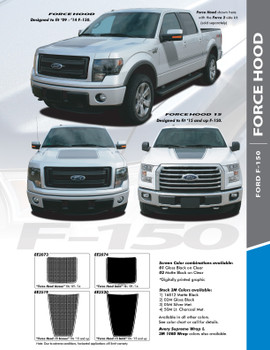 """FORCE HOOD SOLID : 2015-2020 Ford F-150 Hood """"Appearance Package Style"""" Vinyl Graphic Solid Color Decal Kit"""