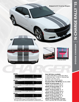 "N-CHARGE RALLY 15 : 2015-2018 Dodge Charger 10"" Racing Stripe Rally Vinyl Graphics Decal Stripe Kit"