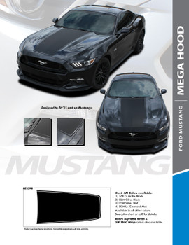 MEGA HOOD : 2015-2017 Ford Mustang Wide Center Hood Racing Rally Stripes Vinyl Graphic Decals Kit