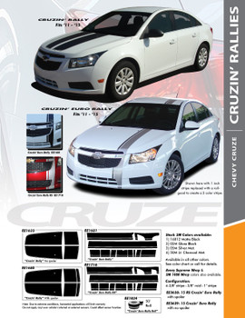 EURO RALLY : 2011-2016 Chevy Cruze Euro Offset Hood Rally Racing Stripes Vinyl Graphics Decals Kit