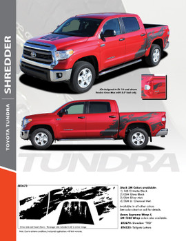 SHREDDER : 2014 2015 2016 2017 Toyota Tundra Crew Max 5.5 ft Short Bed Vinyl Graphic Striping Decal Kit