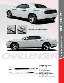SXT STRIPE : 2011-2020 Dodge Challenger Thin Side Door Factory Style Vinyl Graphic Stripes