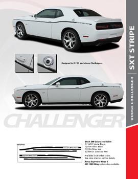 SXT STRIPE : 2011-2020 Dodge Challenger Thin Side Door Factory Style Vinyl Graphic Stripes