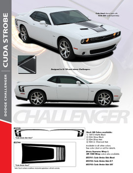 CUDA STROBE COMBO : 2008-2020 Dodge Challenger Factory OEM Style Strobe Hood and Side Vinyl Graphic Decal Stripes Kit